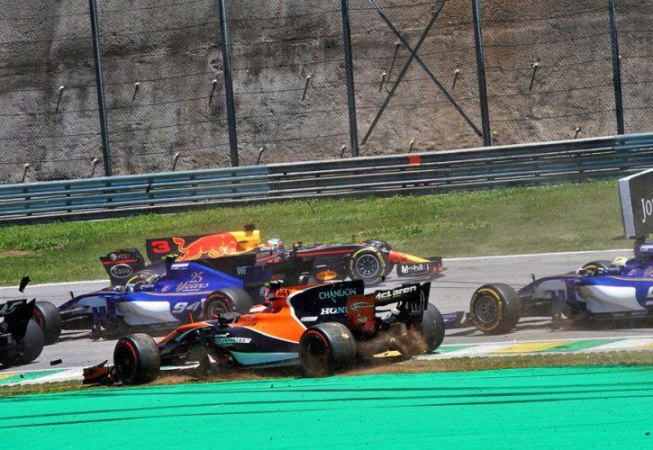 Turn 2 three-way clash in Brazil deemed \'racing incident\'
