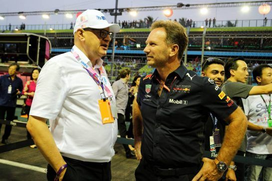 (L to R): Andreas Weissenbacher, BWT Chief Executive Officer with Christian Horner (GBR) Red Bull Racing Team Principal. 16.09.2018. Formula 1 World Championship, Rd 15, Singapore Grand Prix, Marina Bay Street Circuit, Singapore, Race Day. - www.xpbimages.com, EMail: requests@xpbimages.com - copy of publication required for printed pictures. Every used picture is fee-liable. © Copyright: Moy / XPB Images