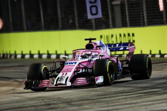 Sergio Perez (MEX) Racing Point Force India F1 VJM11. 16.09.2018. Formula 1 World Championship, Rd 15, Singapore Grand Prix, Marina Bay Street Circuit, Singapore, Race Day. - www.xpbimages.com, EMail: requests@xpbimages.com - copy of publication required for printed pictures. Every used picture is fee-liable. © Copyright: Charniaux / XPB Images
