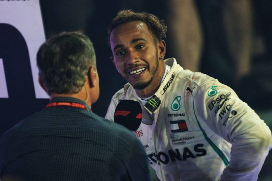 Race winner Lewis Hamilton (GBR) Mercedes AMG F1 with David Coulthard (GBR) Red Bull Racing and Scuderia Toro Advisor / Channel 4 F1 Commentator in parc ferme. 16.09.2018. Formula 1 World Championship, Rd 15, Singapore Grand Prix, Marina Bay Street Circuit, Singapore, Race Day.  - www.xpbimages.com, EMail: requests@xpbimages.com - copy of publication required for printed pictures. Every used picture is fee-liable. © Copyright: Bearne / XPB Images