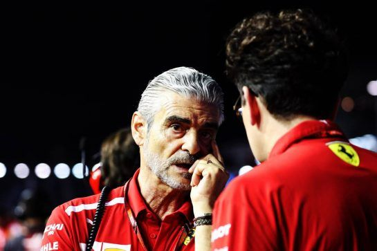 (L to R): Maurizio Arrivabene (ITA) Ferrari Team Principal with Mattia Binotto (ITA) Ferrari Chief Technical Officer on the grid. 16.09.2018. Formula 1 World Championship, Rd 15, Singapore Grand Prix, Marina Bay Street Circuit, Singapore, Race Day. - www.xpbimages.com, EMail: requests@xpbimages.com - copy of publication required for printed pictures. Every used picture is fee-liable. © Copyright: Photo4 / XPB Images