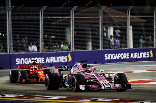 Sergio Perez (MEX) Racing Point Force India F1 VJM11. 16.09.2018. Formula 1 World Championship, Rd 15, Singapore Grand Prix, Marina Bay Street Circuit, Singapore, Race Day. - www.xpbimages.com, EMail: requests@xpbimages.com - copy of publication required for printed pictures. Every used picture is fee-liable. © Copyright: Photo4 / XPB Images