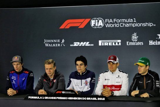 The FIA Press Conference (L to R): Brendon Hartley (NZL) Scuderia Toro Rosso; Kevin Magnussen (DEN) Haas F1 Team; Lance Stroll (CDN) Williams; Marcus Ericsson (SWE) Sauber F1 Team; Stoffel Vandoorne (BEL) McLaren. 08.11.2018. Formula 1 World Championship, Rd 20, Brazilian Grand Prix, Sao Paulo, Brazil, Preparation Day. - www.xpbimages.com, EMail: requests@xpbimages.com - copy of publication required for printed pictures. Every used picture is fee-liable. © Copyright: Moy / XPB Images