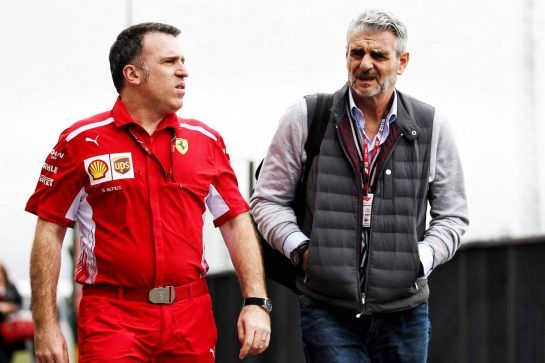 (L to R): Sergio Bondi, Ferrari Head of Logistics with Maurizio Arrivabene (ITA) Ferrari Team Principal. 08.11.2018. Formula 1 World Championship, Rd 20, Brazilian Grand Prix, Sao Paulo, Brazil, Preparation Day. - www.xpbimages.com, EMail: requests@xpbimages.com - copy of publication required for printed pictures. Every used picture is fee-liable. © Copyright: Photo4 / XPB Images