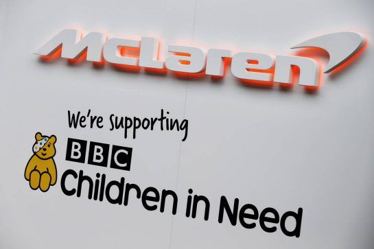 McLaren - supporting BBC Children in Need. 08.11.2018. Formula 1 World Championship, Rd 20, Brazilian Grand Prix, Sao Paulo, Brazil, Preparation Day. - www.xpbimages.com, EMail: requests@xpbimages.com - copy of publication required for printed pictures. Every used picture is fee-liable. © Copyright: Batchelor / XPB Images