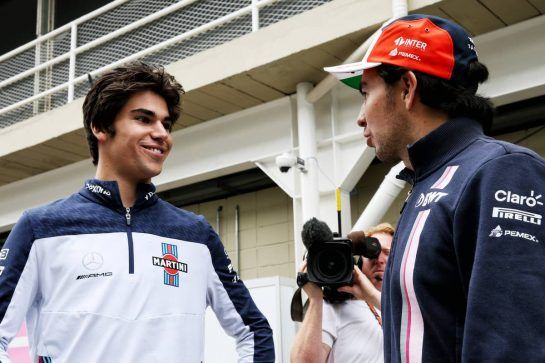 (L to R): Lance Stroll (CDN) Williams with Sergio Perez (MEX) Racing Point Force India F1 Team. 08.11.2018. Formula 1 World Championship, Rd 20, Brazilian Grand Prix, Sao Paulo, Brazil, Preparation Day. - www.xpbimages.com, EMail: requests@xpbimages.com - copy of publication required for printed pictures. Every used picture is fee-liable. © Copyright: Batchelor / XPB Images
