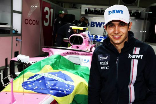 Esteban Ocon (FRA) Racing Point Force India F1 Team - Havaianas. 08.11.2018. Formula 1 World Championship, Rd 20, Brazilian Grand Prix, Sao Paulo, Brazil, Preparation Day. - www.xpbimages.com, EMail: requests@xpbimages.com - copy of publication required for printed pictures. Every used picture is fee-liable. © Copyright: Moy / XPB Images