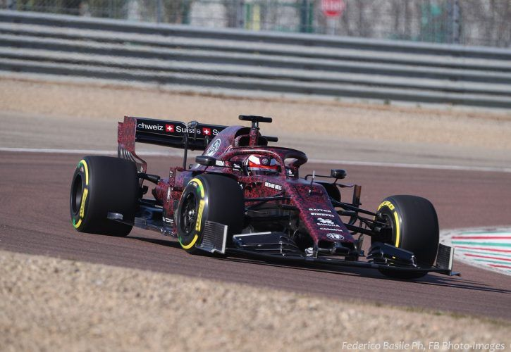 Kimi Raikkonen drives 2019 Alfa Romeo F1 vehicle in Valentine's Day livery