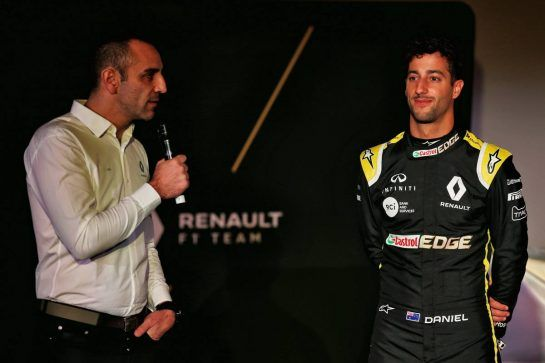 (L to R): Cyril Abiteboul (FRA) Renault Sport F1 Managing Director with Daniel Ricciardo (AUS) Renault Sport F1 Team. 12.02.2019. Renault Sport F1 Team RS19 Launch, Enstone England. Tuesday. - www.xpbimages.com, EMail: requests@xpbimages.com - copy of publication required for printed pictures. Every used picture is fee-liable. © Copyright: Batchelor / XPB Images