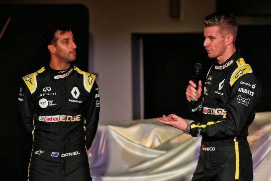 (L to R): Daniel Ricciardo (AUS) Renault Sport F1 Team with team mate Nico Hulkenberg (GER) Renault Sport F1 Team. 12.02.2019. Renault Sport F1 Team RS19 Launch, Enstone England. Tuesday. - www.xpbimages.com, EMail: requests@xpbimages.com - copy of publication required for printed pictures. Every used picture is fee-liable. © Copyright: Batchelor / XPB Images