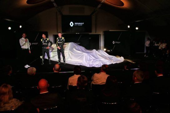 (L to R): Cyril Abiteboul (FRA) Renault Sport F1 Managing Director with Daniel Ricciardo (AUS) Renault Sport F1 Team and Nico Hulkenberg (GER) Renault Sport F1 Team. 12.02.2019. Renault Sport F1 Team RS19 Launch, Enstone England. Tuesday. - www.xpbimages.com, EMail: requests@xpbimages.com - copy of publication required for printed pictures. Every used picture is fee-liable. © Copyright: Batchelor / XPB Images