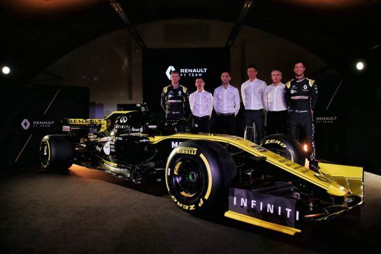 (L to R): Nico Hulkenberg (GER) Renault Sport F1 Team; Remi Taffin (FRA) Renault Sport F1 Engine Technical Director; Cyril Abiteboul (FRA) Renault Sport F1 Managing Director; Marcin Budkowski (POL) Renault Sport F1 Team Executive Director; Nick Chester (GBR) Renault Sport F1 Team Chassis Technical Director; Daniel Ricciardo (AUS) Renault Sport F1 Team. 12.02.2019. Renault Sport F1 Team RS19 Launch, Enstone England. Tuesday. - www.xpbimages.com, EMail: requests@xpbimages.com - copy of publication required for printed pictures. Every used picture is fee-liable. © Copyright: Batchelor / XPB Images
