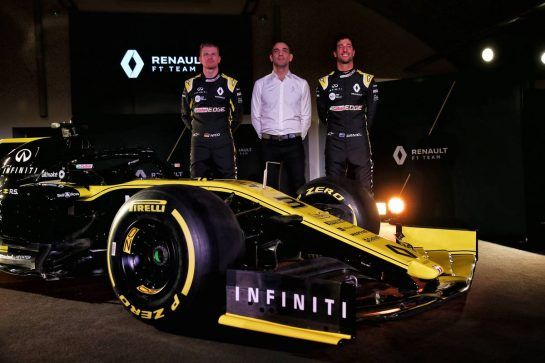 (L to R): Nico Hulkenberg (GER) Renault Sport F1 Team with Cyril Abiteboul (FRA) Renault Sport F1 Managing Director and Daniel Ricciardo (AUS) Renault Sport F1 Team. 12.02.2019. Renault Sport F1 Team RS19 Launch, Enstone England. Tuesday. - www.xpbimages.com, EMail: requests@xpbimages.com - copy of publication required for printed pictures. Every used picture is fee-liable. © Copyright: Batchelor / XPB Images