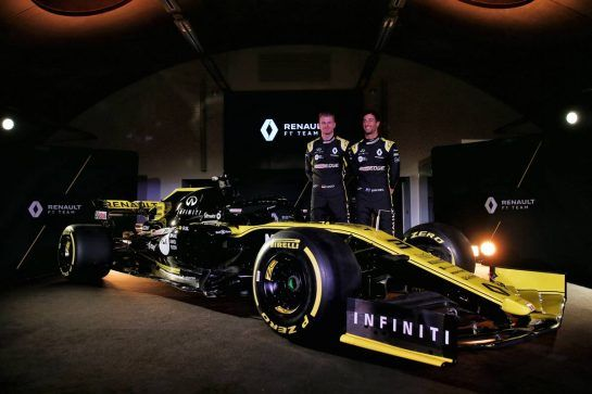 (L to R): Nico Hulkenberg (GER) Renault Sport F1 Team with team mate Daniel Ricciardo (AUS) Renault Sport F1 Team. 12.02.2019. Renault Sport F1 Team RS19 Launch, Enstone England. Tuesday. - www.xpbimages.com, EMail: requests@xpbimages.com - copy of publication required for printed pictures. Every used picture is fee-liable. © Copyright: Batchelor / XPB Images