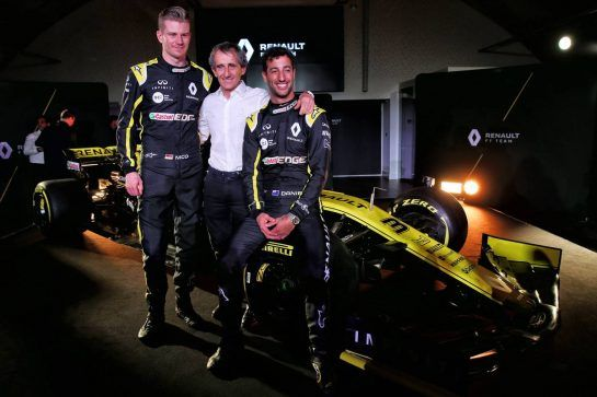 (L to R): Nico Hulkenberg (GER) Renault Sport F1 Team with Alain Prost (FRA) Renault Sport F1 Team Special Advisor and Daniel Ricciardo (AUS) Renault Sport F1 Team. 12.02.2019. Renault Sport F1 Team RS19 Launch, Enstone England. Tuesday. - www.xpbimages.com, EMail: requests@xpbimages.com - copy of publication required for printed pictures. Every used picture is fee-liable. © Copyright: Batchelor / XPB Images