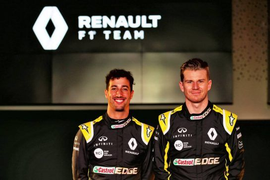 (L to R): Daniel Ricciardo (AUS) Renault Sport F1 Team with Nico Hulkenberg (GER) Renault Sport F1 Team. 12.02.2019. Renault Sport F1 Team RS19 Launch, Enstone England. Tuesday. - www.xpbimages.com, EMail: requests@xpbimages.com - copy of publication required for printed pictures. Every used picture is fee-liable. © Copyright: Batchelor / XPB Images