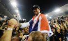 Lewis Hamilton celebrates his second world championship in Abu Dhabi
