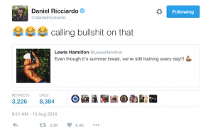 Ricciardo's not buying Hamilton's claim...