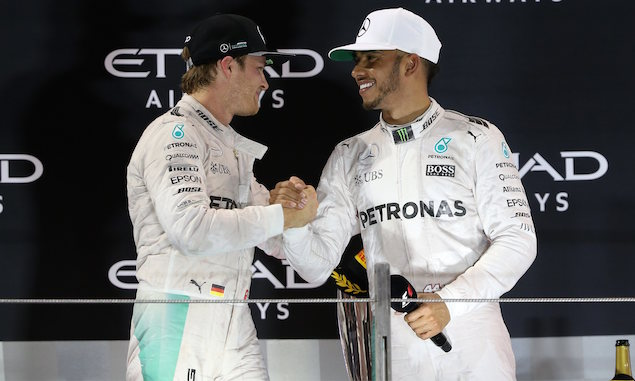 Nico Rosberg and Lewis Hamilton, Mercedes, Abu Dhabi Grand prix