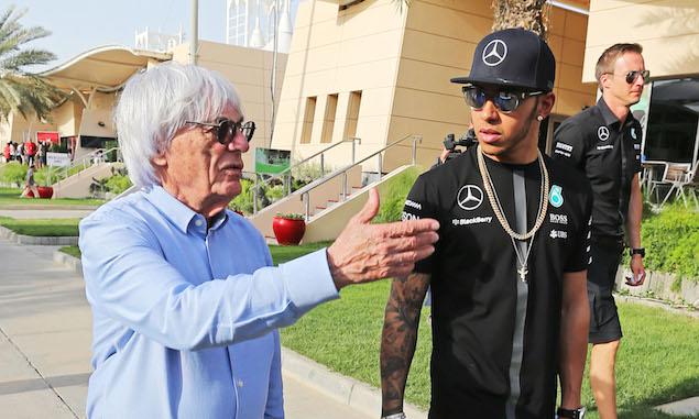 Bernie Ecclestone (GBR) with Lewis Hamilton (GBR) Mercedes AMG F1.