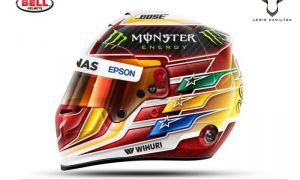 Hamilton goes for striking red and yellow helmet motif!