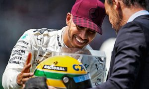 Hamilton emotional after equalling Senna milestone