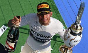 Lewis Hamilton's first winning smirk with Merc