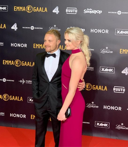 Valtteri Bottas and Emilia Bottas attend an event together