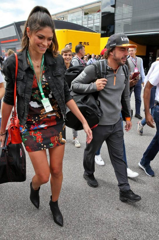Fernando Alonso with his girlfriend Linda Morselli.