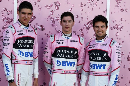 (L to R): Esteban Ocon (FRA) Sahara Force India F1 Team with Alfonso Celis Jr (MEX) Sahara Force India F1 Development Driver and Sergio Perez (MEX) Sahara Force India F1. 06.07.2017. Formula 1 World Championship, Rd 9, Austrian Grand Prix, Spielberg, Austria, Preparation Day. - www.xpbimages.com, EMail: requests@xpbimages.com - copy of publication required for printed pictures. Every used picture is fee-liable. © Copyright: Moy / XPB Images