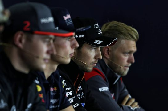 (L to R): Stoffel Vandoorne (BEL) McLaren; Max Verstappen (NLD) Red Bull Racing; Sergio Perez (MEX) Sahara Force India F1; and Kevin Magnussen (DEN) Haas F1 Team, in the FIA Press Conference.