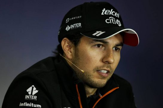 Sergio Perez (MEX) Sahara Force India F1 in the FIA Press Conference.
