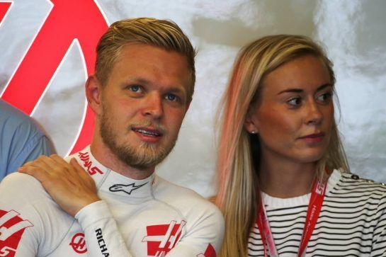 Kevin Magnussen with his fiancee Louise Gjørup