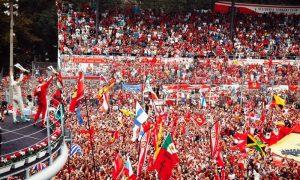 Nico Rosberg's red-tinted podium celebration at Monza