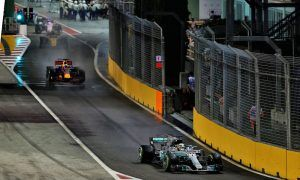 Mercedes crew set the pace in the pit lane at Singapore