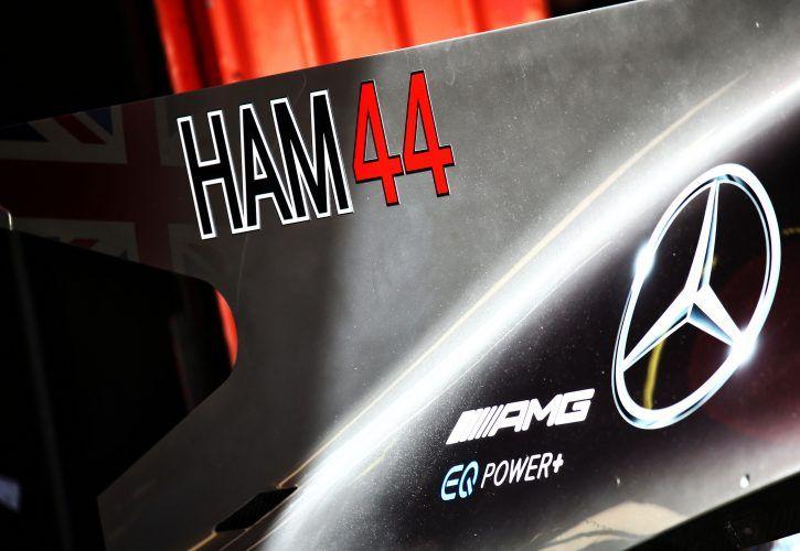 Shark fin and sponsorship - bodywork detail on Lewis Hamilton's Mercedes