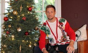 Jenson buttons up for 'ugly sweater' day!