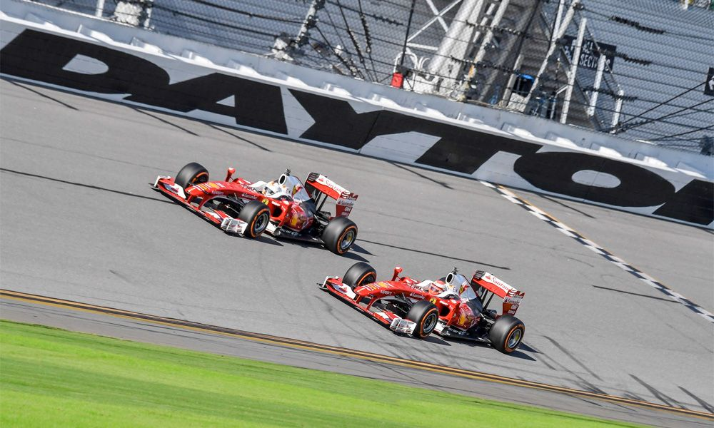 Sebastian Vettel and Kimi Raikkonen at Ferrari's 2016 Finali Mondiali event at Daytona