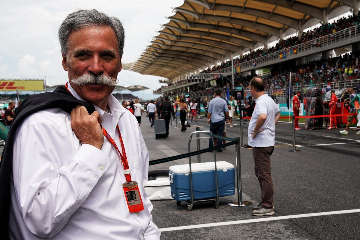 Chase Carey (USA) Formula One Group Chairman on the grid.