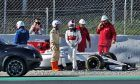Charles Leclerc (MON) Sauber C37 stops on the circuit.
