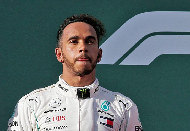 Second placed Lewis Hamilton (GBR) Mercedes AMG F1 on the podium.