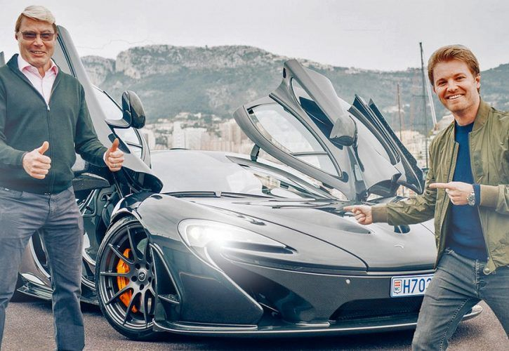 Mika Hakkinen and Nico Rosberg go for a little drive in the country in a McLaren P1 Coupe around in the hills above their Monaco homes.