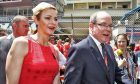 HSH Prince Albert of Monaco (MON) with Princess Charlene of Monaco on the grid.