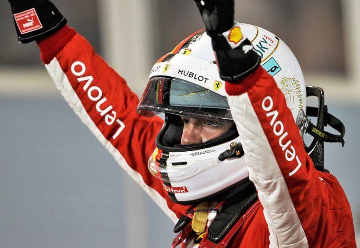 Bahrain Grand Prix: Race winner Sebastian Vettel (GER) Ferrari celebrates in parc ferme