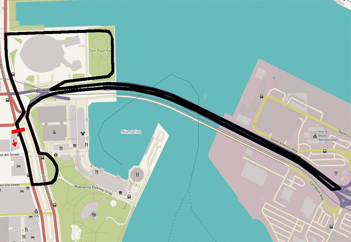 Proposed layout for the Miami Grand Prix