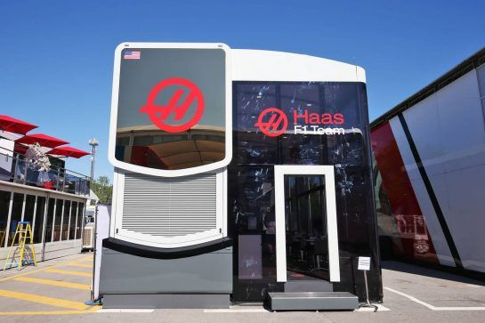 Haas F1 Team motorhome. 12.05.2016. Formula 1 World Championship, Rd 5, Spanish Grand Prix, Barcelona, Spain, Preparation Day. - www.xpbimages.com, EMail: requests@xpbimages.com - copy of publication required for printed pictures. Every used picture is fee-liable. © Copyright: Moy / XPB Images