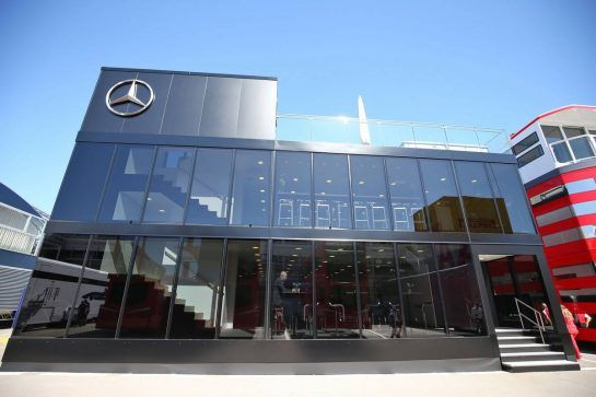 Mercedes AMG F1 motorhome. 12.05.2016. Formula 1 World Championship, Rd 5, Spanish Grand Prix, Barcelona, Spain, Preparation Day. - www.xpbimages.com, EMail: requests@xpbimages.com - copy of publication required for printed pictures. Every used picture is fee-liable. © Copyright: Moy / XPB Images