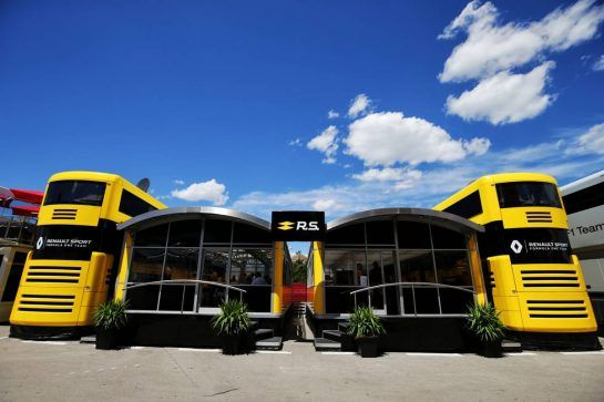 Renault Sport F1 Team motorhome. 13.05.2017. Formula 1 World Championship, Rd 5, Spanish Grand Prix, Barcelona, Spain, Qualifying Day. - www.xpbimages.com, EMail: requests@xpbimages.com - copy of publication required for printed pictures. Every used picture is fee-liable. © Copyright: Moy / XPB Images