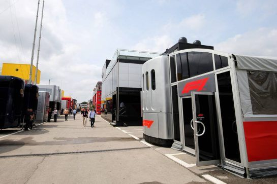 F1 motorhome. 10.05.2018. Formula 1 World Championship, Rd 5, Spanish Grand Prix, Barcelona, Spain, Preparation Day. - www.xpbimages.com, EMail: requests@xpbimages.com - copy of publication required for printed pictures. Every used picture is fee-liable. © Copyright: Moy / XPB Images