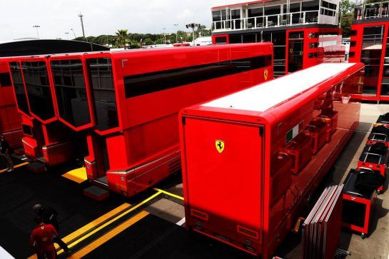 Ferrari trucks in the paddock. 10.05.2018. Formula 1 World Championship, Rd 5, Spanish Grand Prix, Barcelona, Spain, Preparation Day. - www.xpbimages.com, EMail: requests@xpbimages.com - copy of publication required for printed pictures. Every used picture is fee-liable. © Copyright: Photo4 / XPB Images